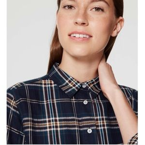 LOFT Navy Plaid Softened Popover Blouse